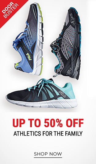 An assortment of sneakers in a variety of colors & styles. DoorBuster. up to 50% off athletics for the family. Shop now.