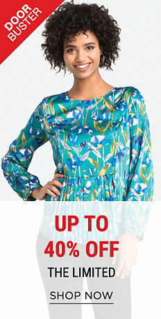 A woman wearing a blue, green & yellow print top. DoorBuster. Up to 40% off The Limited. Shop now.