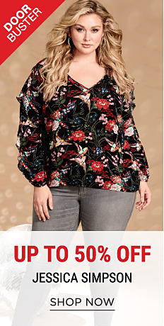 A woman wearing a multi-colored floral print top & gray distressed jeans. DoorBuster. Up to 50% off Jessica Simpson. Shop now.