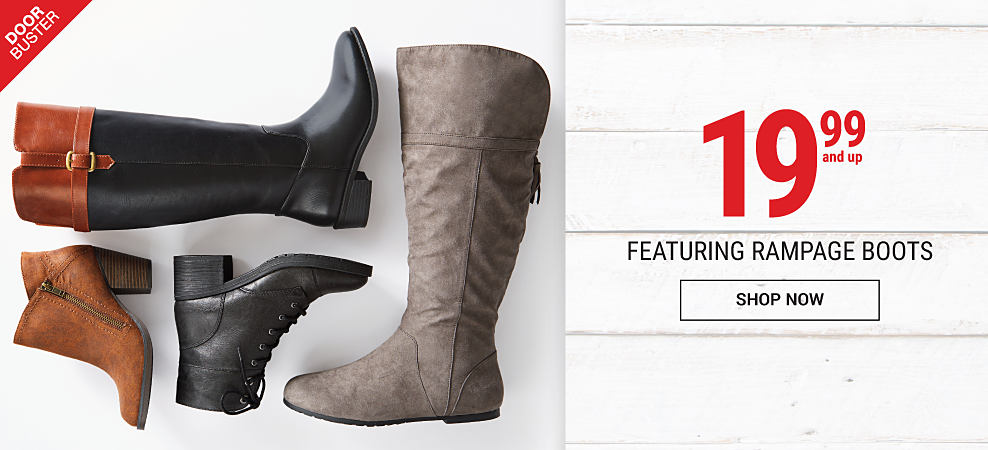 An assortment of women's leather boots & booties. DoorBuster. 19.99 Rampage boots. Shop now.
