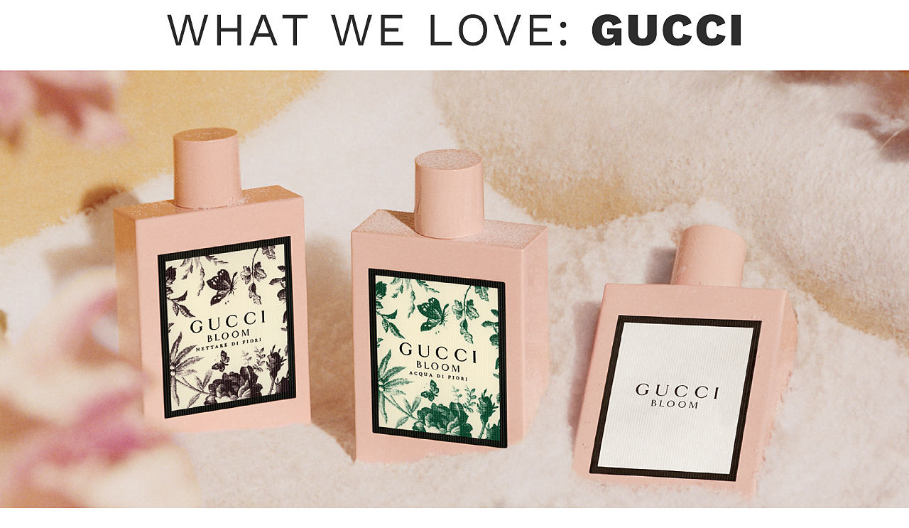 The Gucci Bloom fragrance collection celebrates diverse expressions of modern femininity. A rich, white floral scent, Bloom Eau de Parfum epitomizes authenticity and optimism. Acqua di Fiori, an intensely green and fresh fragrance, celebrates the joy and energy of youth. The new chypre floral scent, Nettare di Fiori, portrays an intense and mysterious sensuality.