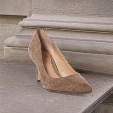 A beige suede heel. Shop shoes.