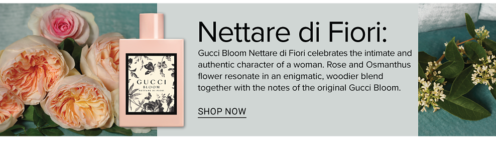 Gucci Bloom Nettare di Fiori celebrates the intimate and authentic character of a woman. Rose and Osmanthus flower resonate in an enigmatic, woodier blend together with the notes of the original Gucci Bloom.