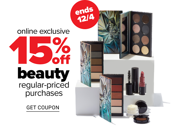 Online Exclusive - 15% off Beauty Regular-Priced Purchases, ends 12/4 - Get Coupon