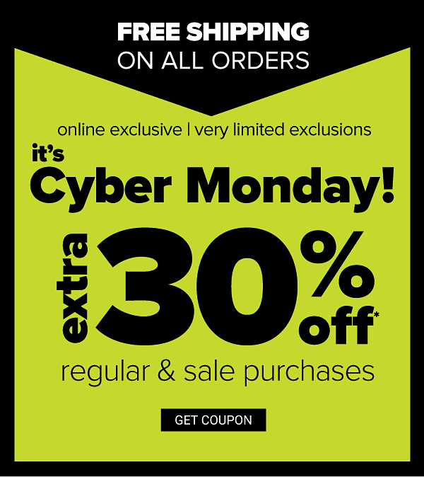 Online Exclusive   Very Limited Exclusions - Extra 30% off Regular & Sale purchases - Get Coupon