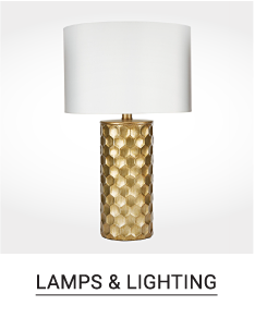 A gold tone lattice patterned table lamp with white shade. Shop lamps & lighting.