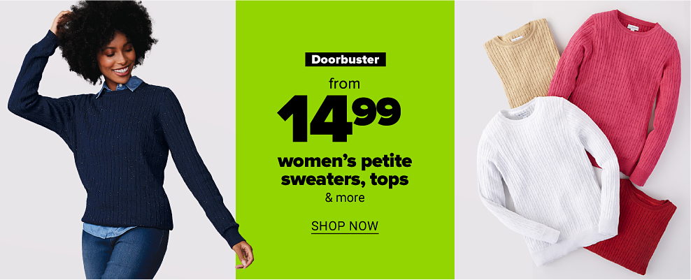 A woman in a navy blue crewneck sweater with a chambray shirt underneath and jeans. Four crewneck sweaters in beige, hot pink, red and white. Doorbuster. From $14.99 women's petite sweaters. Shop now.