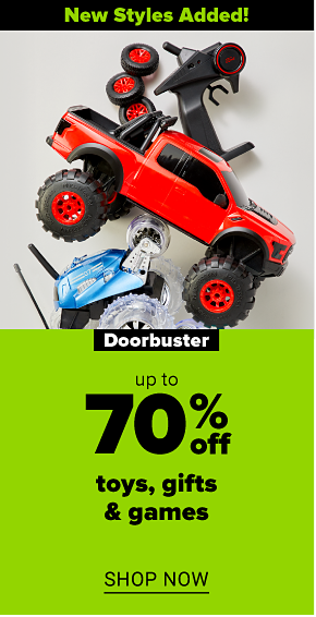 A red toy truck with black and red wheels and a black remote control. Two small blue cars with transparent wheels and a black remote control. New styles added! Doorbuster. Up to 70% off toys, gifts and games. Shop now.