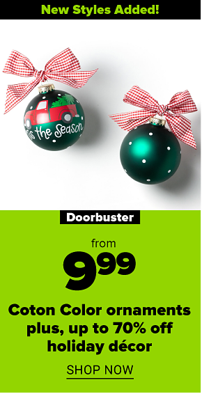 An emerald green Christmas ornament with white polka dots and a red checkered ribbon bow. One side has a drawing of a red truck and says tis the season. New styles added! Doorbuster. From 9.99 Coton Color ornaments plus, up to 70% off holiday decor. Shop now.