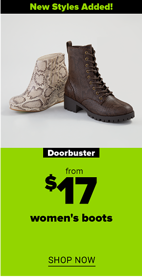 A snake print wedge bootie in tan and brown. A dark brown lace-up combat boot with a small chunky heel. New styles added! Doorbuster. From $17 women's boots. Shop now.