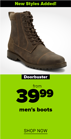 A dark brown men's lace-up boot with detailed stitching. New styles added! Doorbuster. From 39.99 men's boots. Shop now.