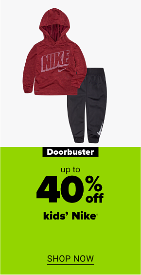 A kids' red Nike sweatshirt and black Nike joggers. Doorbuster up to 40% off kids' Nike. Shop now.