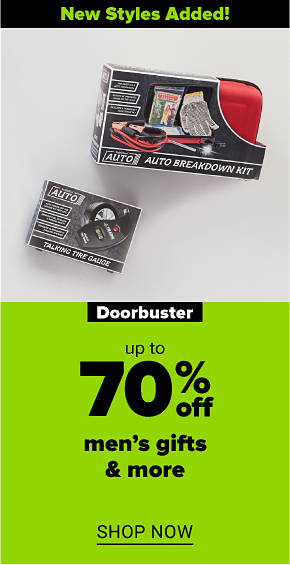 An auto breakdown kit and a talking tire gauge New styles added! Doorbuster up to 70% off men's gifts and more. Shop now.