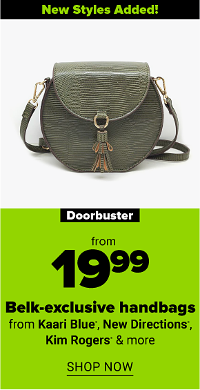 An olive faux leather half moon flap crossbody handbag with a tassel. New styles added! Doorbuster from $19.99 Belk exclusive handbags from Kaari Blue, New Directions and more. Shop now.