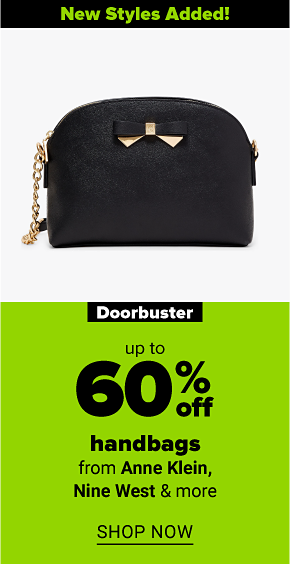 A black triple compartment crossbody with a metal bow. New styles added! Doorbuster up to 60% off handbags from Anne Klein, Nine West and more. Shop now.