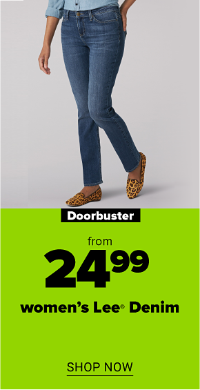 A woman in blue jeans. Doorbuster from $24.99 women's Lee denim. Shop now.