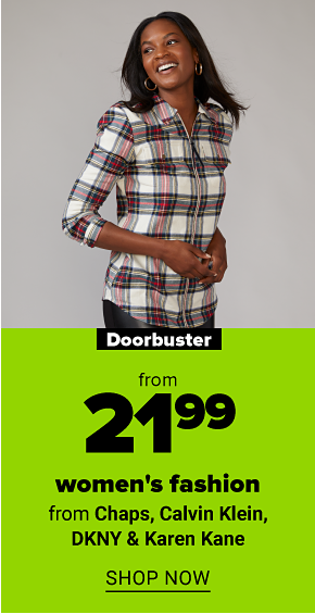 A woman in a red and white plaid top. Doorbuster from $21.99 womens fashion from Chaps, Calvin Klein, DKNY and Karen Kane. Shop now.