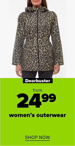 A woman in a leopard printed parka in a pocket. Doorbuster from $24.99 women's outerwear. Shop now.