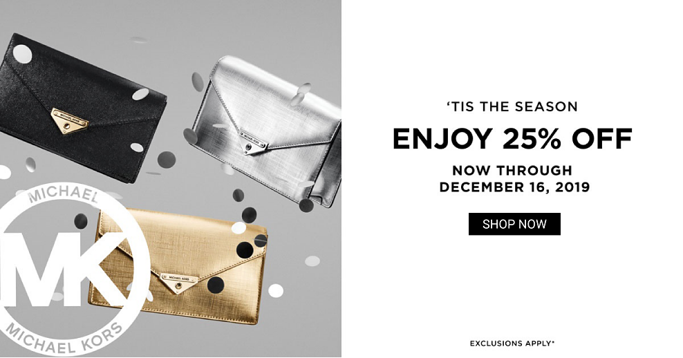 A black leather clutch, a gold leather clutch & a silver leather clutch. Tis the Season. Enjoy 25% off Michael Michael Kors now through December 16, 2019. Exclusions apply. Shop now.