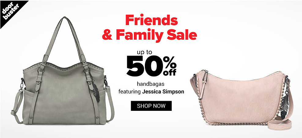 A gray leather handbag. A light pink leather handbag. Friends & Family Sale. Doorbuster. Up to 50% off handbags featuring Jessica Simpson. Shop now.