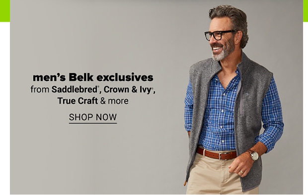 A man wearing a long-sleeve, blue plaid dress shirt with a grey vest and khaki pants. Men's Belk exclusives from Saddlebred, Crown and Ivy, True Craft and more. Shop now.