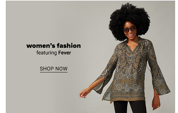 A woman wearing sunglasses and a bohemian-patterned top with a v-neckline and flared sleeves. Women's fashion featuring Fever. Shop now.