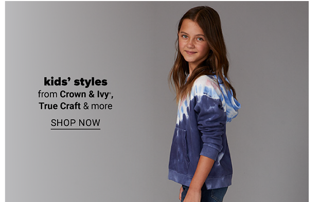 A girl wearing a white and blue tie-dye hoodie with a front kangaroo pocket. Kids' styles from Crown and Ivy, True Craft and more. Shop now.