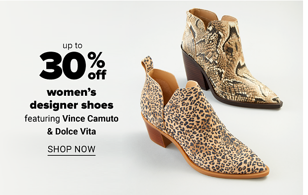 A snakeskin bootie in tan and black with a medium block heel and a pointed toe. A leopard-print bootie with a small, tan block heel and a pointed toe. Up to 30% off women's designer shoes. Shop now.