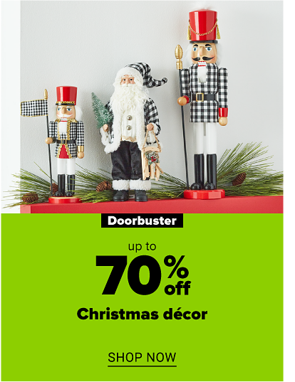 One small and one large nutcracker in plaid, black and white clothing and a red hat. A santa figurine in plaid, black and white clothing. Doorbuster. Up to 70% off Christmas decor. Shop now.