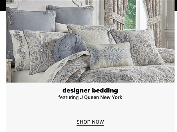 A paisley-patterned bedding set in beige and light blue colors. Designer bedding featuring J Queen New York. Shop now.