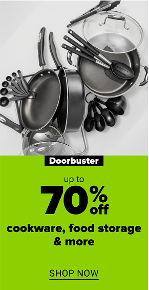An assortment of black and metal cooking utensils, pots and pans. Doorbuster. Up to 70% off cookware, food storage and more. Shop now.