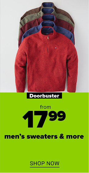 Four cozy men's sweaters in white, army green, red and denim blue. Doorbuster. From $17.99 men's sweaters and more. Shop now.