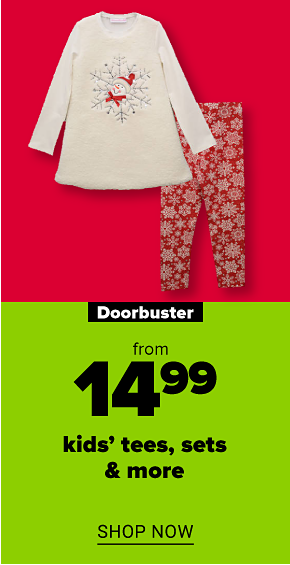 A girl's two piece outfit featuring a white long-sleeve top with a snowflake design and red leggings with white snowflakes. Doorbuster. From $14.99 kids' tees, sets, sleepwear and more. Shop now.