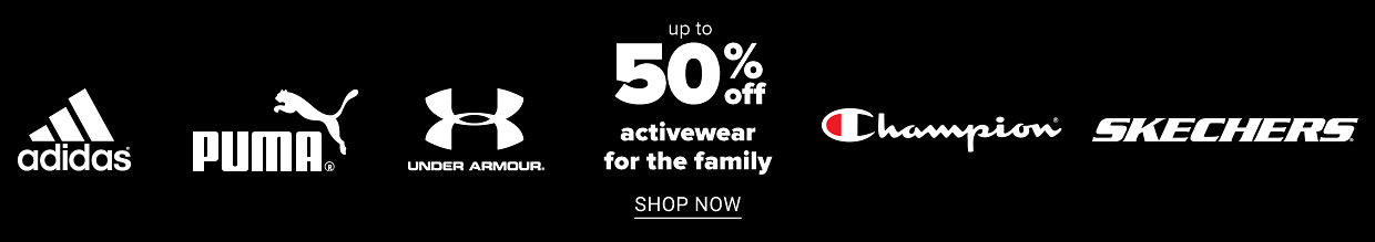 White Under Armour, Fila, Puma and Adidas logos on a black background. Up to 25% off activewear for the family. Shop now.