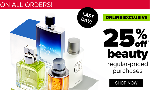 Four men's designer fragrances from Jimmy Choo, Giorgio Armani, Calvin Klein and Hugo Boss. Two days only. Online exclusive. 25% off beauty regular-priced purchases. Shop now. Get coupon.
