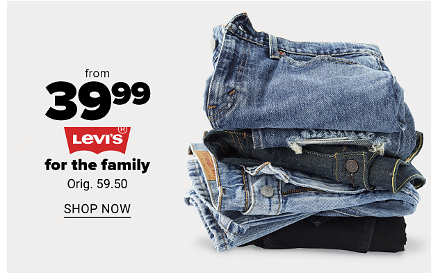 Stack of blue jeans in various shades. From 39.99 Levi's for the family. Orig. 59.50. Shop now.