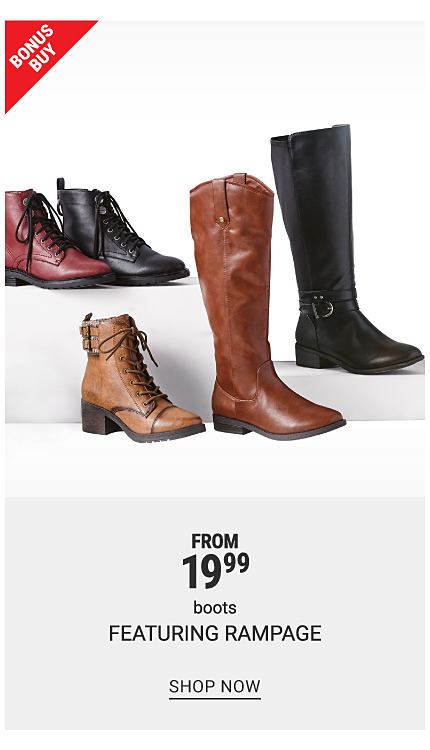 3 short boots in red, black and tan and 2 tall boots in black and brown. Bonus buy. From 19.99 boots featuring Rampage. Shop now.