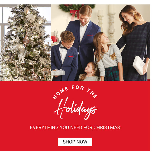 Home for the holidays. Everything you need for Christmas. Shop now. A family is dressed in their Christmas best, standing in a room decorated for the holidays