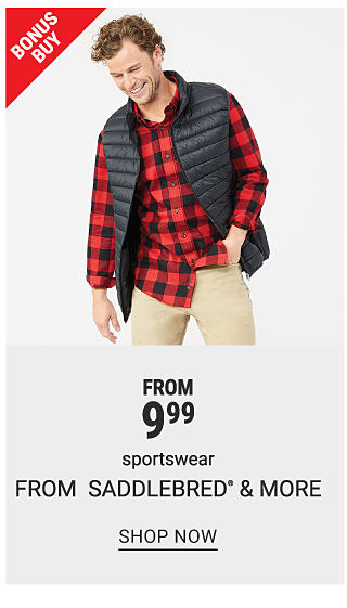A man in a red and black plaid top, black puffer vest, and khakis. Bonus buy. From 9.99 sportswear from Saddlebred and more. Shop now.