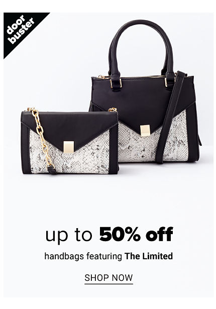 A black leather & white & gray snake print colorblock clutch & a black leather & white & gray snake print colorblock handbag. Doorbuster. Up to 50% off handbags featuring The Limited. Shop now.
