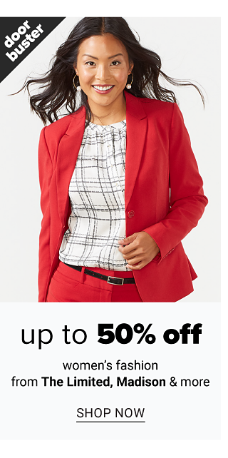 A woman wearing a red pant suit & a white & red plaid top. Doorbuster. Up to 50% off women's fashion from The Limited, Madison & more. Shop now.