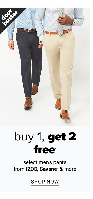 A man wearing a light blue dress shirt, a light blue & white check tie, navy pants & brown shoes standing next to a man wearing a white dress shirt, gray & white diagonal striped tie, beige pants & brown shoes. Doorbuster. Buy 1, Get 2 Free select men's pants from Izod, Savane & more. Shop now.