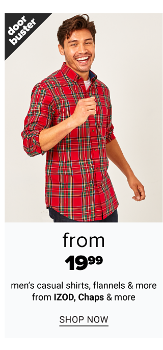 A man wearing a red, black & white plaid long sleeved button front shirt & black jeans. Doorbuster. From $19.99 men's casual shirts, flannels & more from Izod, Chaps & more. Shop now.