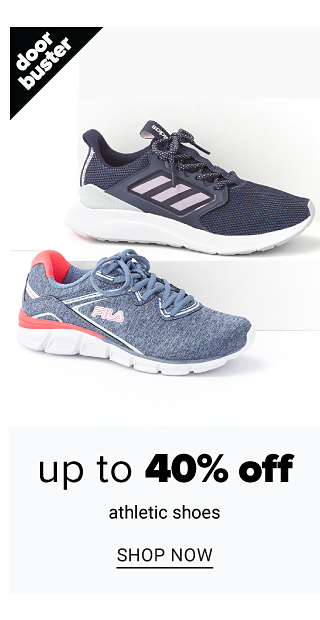 An assortment of sneakers in a variety of colors, prints & styles. Doorbuster. Up to 40% off athletic shoes. Shop now.