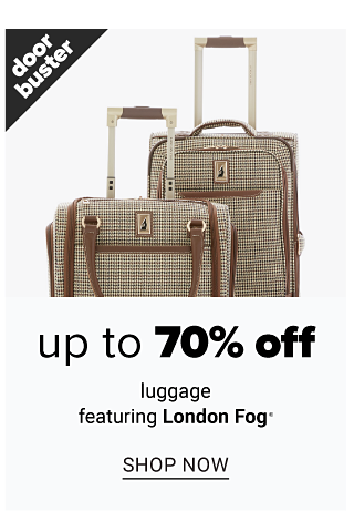 Two beige wheeled suitcases with brown leather trim. Doorbuster. Up to 70% off luggage featuring London Fog. Shop now.