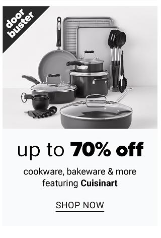 An assortment of pots, pans, bakeware & kitchen utensils. Doorbuster. Up to 70% off cookware, bakeware & more featuring Cuisinart. Shop now.