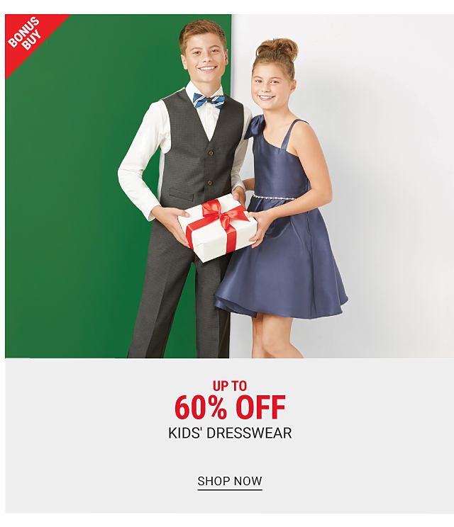 A boy wearing a black vest, white dress shirt, blue & white striped bow tie, black pants & black shoes standing next to a girl wearing a blue sleeveless dress & black shoes. Bonus Buy. Up to 60% off kids dresswear. Shop now.