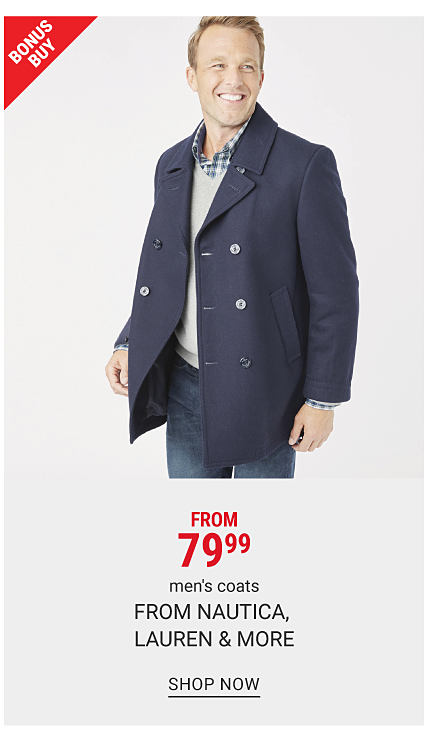 A man wearing a navy peacoat over a gray sweater over a blue & white plaid button front shirt & blue jeans. Bonus Buy. From $79.99 men's coats from Nautica, Lauren & more. Shop now.