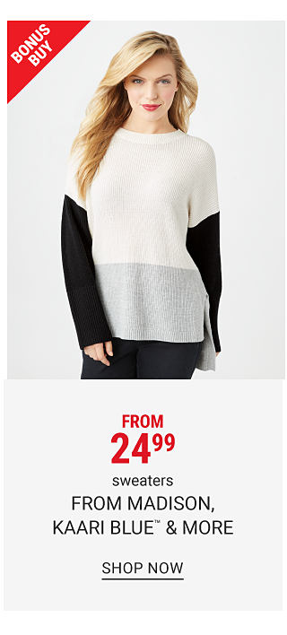 A woman wearing a white, gray & black colorblock top & black pants. From $29.99 sweaters from Madison, Kaari Blue & more. Shop now.