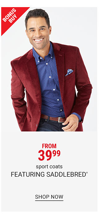 A man wearing a burgundy velvet sport coat over a blue dress shirt & blue jeans. Bonus Buy. From $39.99 sport coats featuring Saddlebred. Shop now.